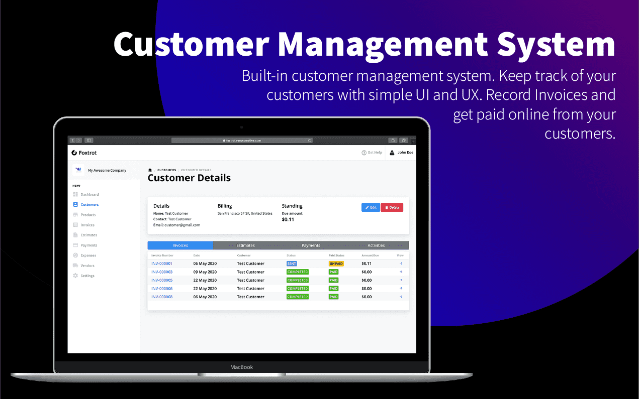Foxtrot v1.0.4 – Customer, Invoice and Expense Management System GPL Изображение: 6