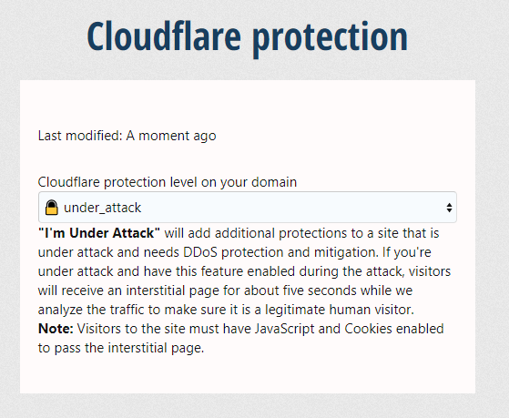 [Foro.agency]☁️ CloudFlare for XenForo : staff permission to change the DDOS/attack protection level 2.0.2 Изображение: 5